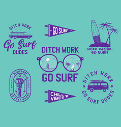 set surf concept banners vector image