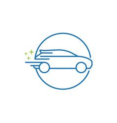 simple line art car wash salon logo design vector image