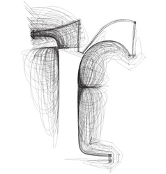 Sketch font letter r vector