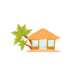 Small tropic house straw hut for rent or living vector