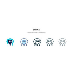 Sphinx icon in different style two colored vector