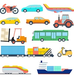 Transport flat icon Perfect flat car ship and vector image
