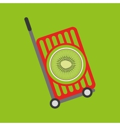 Trolley shop juicy kiwi fruit vector