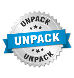 Unpack round isolated silver badge vector
