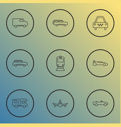 vehicle icons line style set with taxi city car vector image