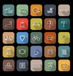 Village line flat icons with long shadow vector