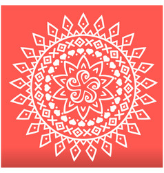 white spearhead mandala red background imag vector image