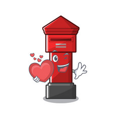 With heart pillar box isolated in mascot vector