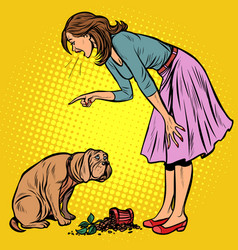 woman scolds guilty dog broken pot with flower vector image