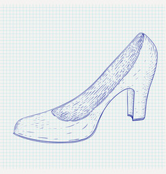 women shoe hand drawn sketch blue icon on vector image
