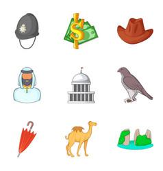 World cult icons set cartoon style vector