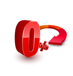 zero percent with circle arrow vector image
