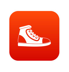 athletic shoe icon digital red vector image