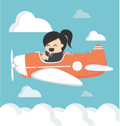 business woman on airplane vector image