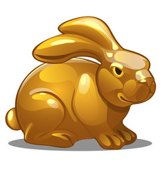 golden figure of rabbit chinese horoscope symbol vector image
