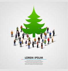 group of people around christmas tree vector image