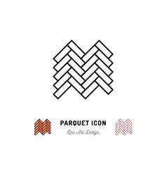 parquet icon wooden floor symbol thin vector image vector image