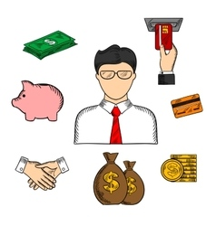 Banker and financial color sketched icons vector
