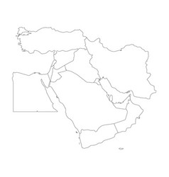 blank map of middle east or near east simple vector image vector image
