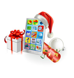 christmas mobile phone vector image