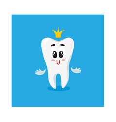 cute and happy shiny white tooth character with vector image vector image