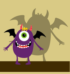 cyclops violet happy monster vector image vector image