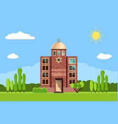 jewish synagogue icon vector image vector image