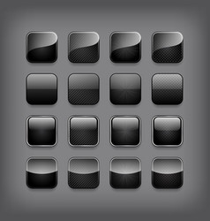 Set of blank black buttons vector image