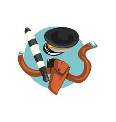 symbols of traffic police officer profession vector image