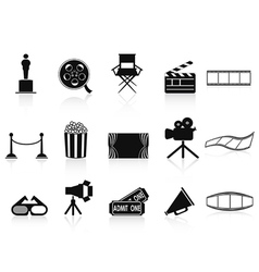 black movies icons set vector image vector image