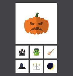 flat icon halloween set of broom pumpkin tomb vector image vector image