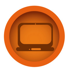 Orange color circular frame with silhouette tech vector