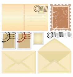 postcard and stamps vector image