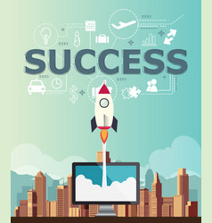 rocketship on computer for startup success media vector image vector image