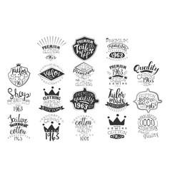 set of monochrome emblems for fashion vector image