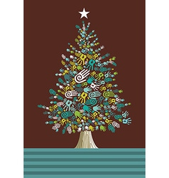 Diversity Christmas Tree hands card vector image vector image