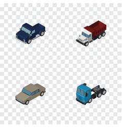 Isometric transport set of auto freight suv and vector