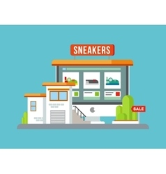 Online Shop Building Flat Design vector image vector image