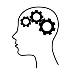 silhouette human brain gear idea isolated vector image