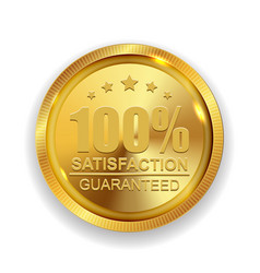 100 satisfaction guaranteed golden medal label vector image
