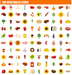 100 vegetables icon set flat style vector