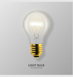 3d realistic golden turning on light bulb vector