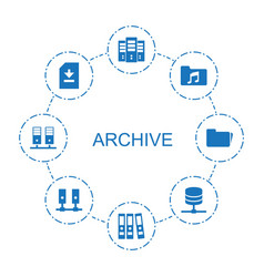 8 archive icons vector image