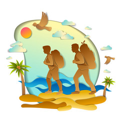active couple hiking to wild beach with sea ocean vector image