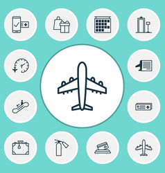 airport icons set with timetable metal detector vector image