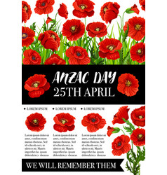 Anzac day memorial banner with red poppy flower vector