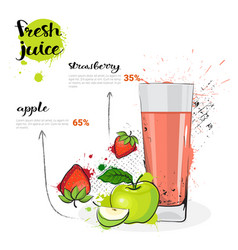 Apple strawberry mix cocktail fresh juice hand vector