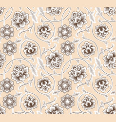 asian ornament with flowers on beige background vector image