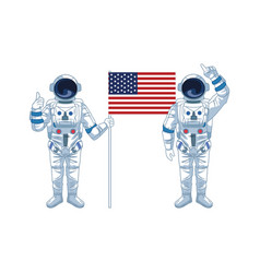 Astronauts standing and holding a us flag icon vector