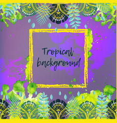 background with tropical leaves vector image